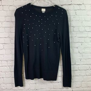 A New Day Black Pullover Sweater Bead Detail Small